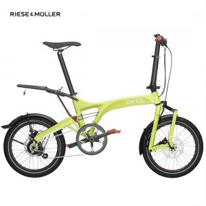 Modelo rolhoff de la bicicleta plegable Birdy de Riese & Müller en color lima con parrilla trasera opcional