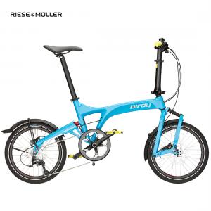 Modelo speed de la bicicleta plegable Birdy de Riese & Müller en color cyan