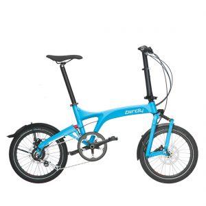Bicicleta plegable no eléctrica Riese & Müller Birdy City en color cyan